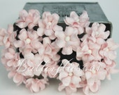 NEW ARRIVAL : 30 Pale Pink Small Handmade Mulberry Paper Flowers