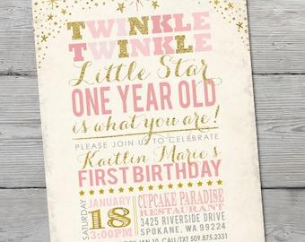 Twinkle Twinkle Little Star Birthday Invitation, PRINTABLE Little Star First Birthday, Twinkle Twinkle Little Star Invitation, ID: BD125901
