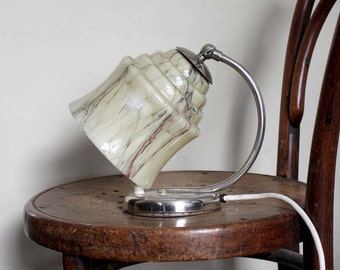 Art Deco Table Lamp or Wall Sconce. Chrome and Neutral Marbled Glass