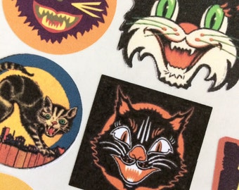 Halloween Black Cat Vintage Prints Stickers  Envelope Seals for Scrapbooks, Cards, Journals, Planners and More!