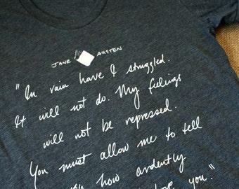 Jane Austen T-Shirt - Mr Darcy Proposal Quote - Jane Austen Gift - Pride and Prejudice Tee Shirt - JAT001