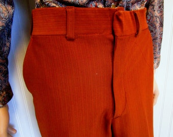"""70s 34"""" x 29"""" Polyester Doubleknit Mens Flares Bell Bottoms PANTS Disco Rust"""