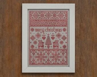 PDF Small Merry Christmas Sampler cross stitch patterns by Modern Folk at thecottageneedle.com monochromatic