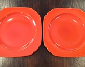 Homer Laughlin Riviera Deco Red Orange Luncheon Plates