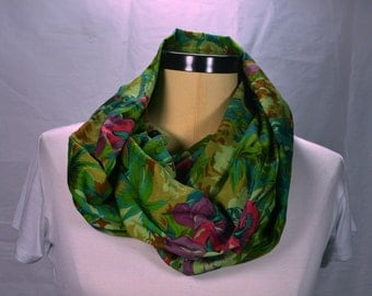 Lightweight Cotton Infinity Scarf Loop Scarf Fashion Scarf Gift for Women Tropical Scarf Green Scarf