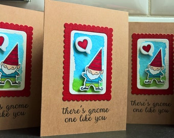 Gnome Anniversary Card, Friendship Card, I Love You Card, Gnome Thank You Card