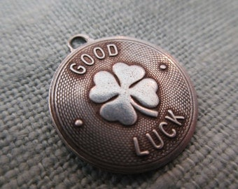 vintage sterling silver 4-leaf clover charm - good luck, round, Beau