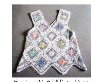 Dot in Square Top - Crochet Pattern - Instant Download Pdf