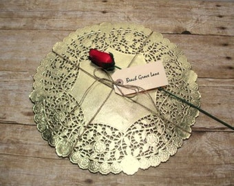 1 Dozen 12 Inch Gold Lace Doily Paper Placemats~Quantities of 12/15/18 Gold Chargers, 12 Inch, for Weddings~ Bridal Shower Decor