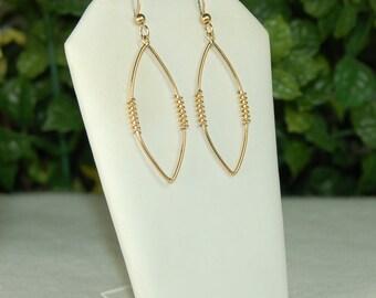 14k Gold Filled Earrings, Geometric Dangles, Long Almond Shape, Gold Wire Drops, Gold Fill Dangles, Gold Wire Dangles, Golden Almonds