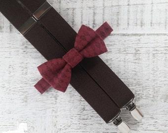 Boy Suspender Bow Tie Set - Maroon Argyle Bow Tie - Brown Suspenders - Wedding Accessory