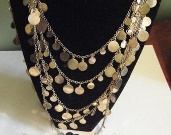 Vintage  5 chain gold tone necklace and hoop earrings
