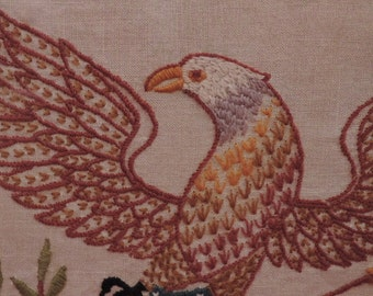 Vintage Embroidered Eagle, Americana Wall Art, Eagle With Flag Symbol, Vintage Fifties, Home Decor, Wall Art, Hand Embroidered, Framed Art