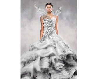 Hunger Games Catching Fire Katniss Costume Wedding Dress white Pageant wear Christmas Gown White Snow Christmas custom size 12m up to 7 yrs