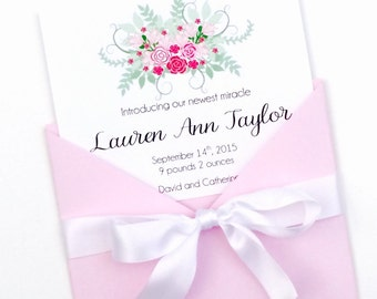 Floral Bouquet Birth Announcement, It's a Girl, Rose Bouquet Announcement, Floral Themed Announcement, Baby Girl Announcement