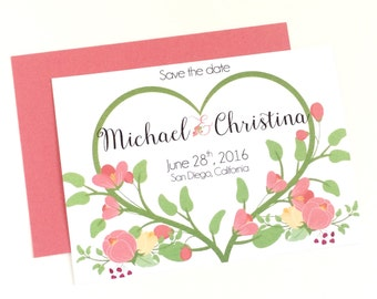 Floral Heart Save the Date, Romantic Save the Date, Garden Wedding, Rustic Save the Date, Bridal Shower Invite, Spring Floral Save the Date
