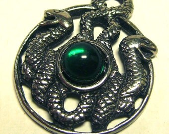 Detailed 3D Double Snakes Jeweled Pendant 1994 Lead-Free Pewter Charm Pagan
