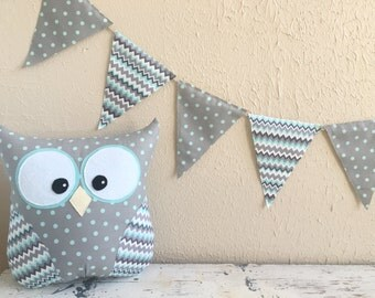 PENNANT BANNER in Blue and Gray
