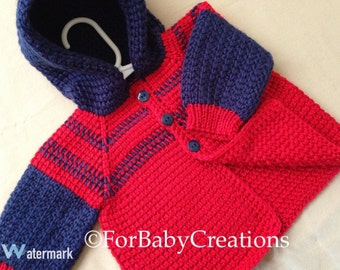 Red and Blue Crochet Baby Boy Sweater with Hood - 0-6 Months in Tunisian Crochet - Handmade