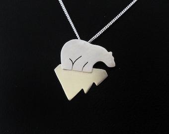 Polar Bear Necklace - Silver Bear Jewelry - Cute Bear Gift - Arctic Bear Silhouette - Wildlife Jewelry - Endangered Species