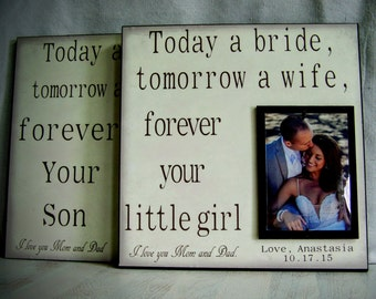 Today a Bride AND Today A Groom 12x12 WEDDING FRAME Set, Parents Wedding Gift, Mother of the Bride Gift, Personalized Picture Frame