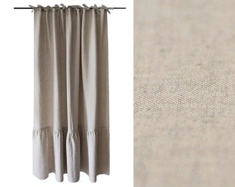 Linen curtain with large ruffle | Ties top curtains | Vintage by Lovely Home Idea