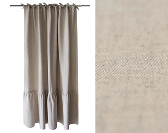 Linen curtain with large ruffle Ties top window curtains Unlined or blackout curtains Vintage linen curtains collection by Lovely Home Idea