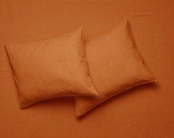 Rust linen bedding set, Linen sheet set Flat, fitted sheets & pillowcases. Linen bedding Queen Linen sheets King Twin Full Double