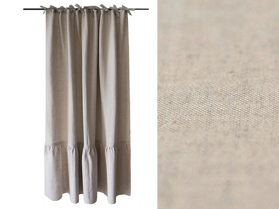 Linen curtain with large ruffle Ties top by LovelyHomeIdea
