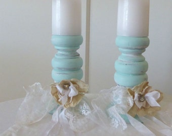 White & Mint Wooden Candle Holders by WeeWoollyBurros