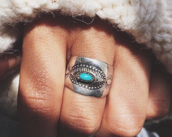 RVCR-07, free U.S shipping, repurposed vintage sterling silver and tirquoise concho ring