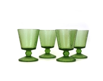 Vintage Mid Mod Green Glass Goblets with Pebbled Texture, Set of 4 (E4132)