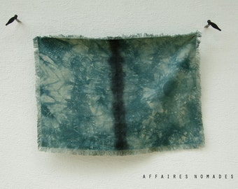 Plant inspired fringe multiple use throw hand dyed. Throw for couch. Blanket. Place mat. linen table mat. Wall hanging art.  Emerald green