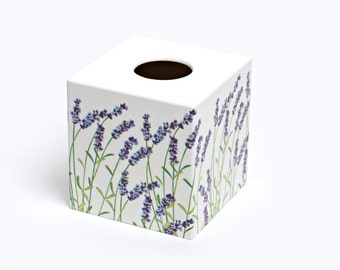 Lavender Tissue Box Cover wooden handmade in UK