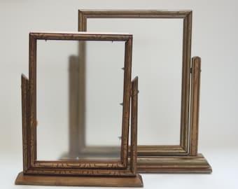 Vintage Table Wood Picture Frames Set of 2