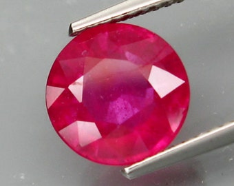 Large Natural Bright Pinkish Red Ruby Faceted Round 9 MM, 3.80 Ct, Hard To Find Size