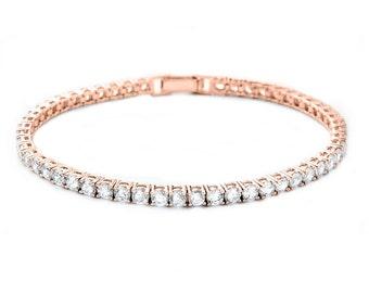 Rose gold tennis bracelet, rose gold plated bracelet, bridal bracelet, bridal crystal bracelet, bridal rose gold jewellery,rose gold jewelry