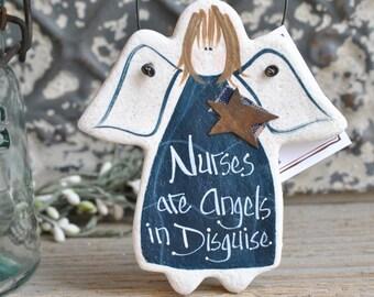 Nurse Gift Salt Dough Angel Ornament