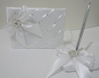 Personalize Elegant Wedding Guest Book and Pen Set, Silver Accents with Swarovski Crystals & Pearls - Custom Made to Order