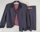 Vintage Jaeger for I. Magnin Women's Gray Wool Suit // Fully Lined