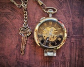 SHERLOCK HOLMES Pocket Watch/Clock-magnifying glass cover,key to 221B,single albert chain,wind-up mechanical,stands alone on desk or shelf