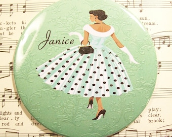 Personalized African American Woman Lipstick Mirror, 1950's Fashionista in Green Scoopneck Polka Dot Dress,Large 3.50 Inches