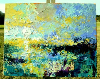 "Original Large Abstract Wetland Landscape Oil Painting- ""Marsh Abstraction XXI""- by Claire McElveen"