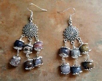 Lovely Silver Needle Jasper Dangle Earrings