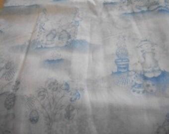 Daisy Kingdom White Bunny Novelty Fabric with Blue Print