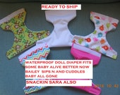 READY TO SHIP waterproof doll diaper w quilted insert fits some baby alive fits snackin sara sips n cuddles baby all gone better now Bailey