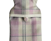 Hot Water Bottle and Cover in Pink Check Wool