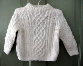 Celtic Knot Sweater in Bright White - 6 Months