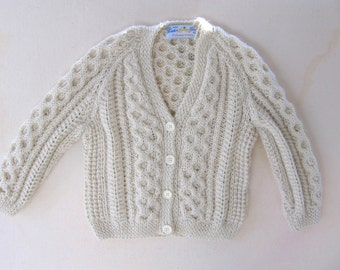 Authentic Irish Knit Baby Girl Cardigan in Ivory Acrylic - 12 Month