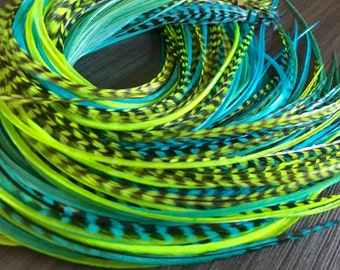 Turquoise/Bright Lime/Green Feather Extensions Long Hair Feather Extensions Shades Soft Hair Accessories 8pcs Loose or Bonded